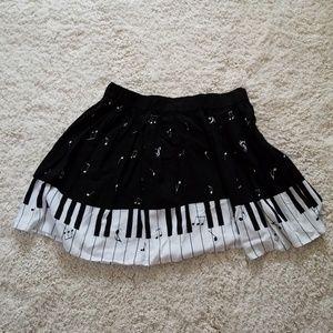 Black and White Music Piano Skirt